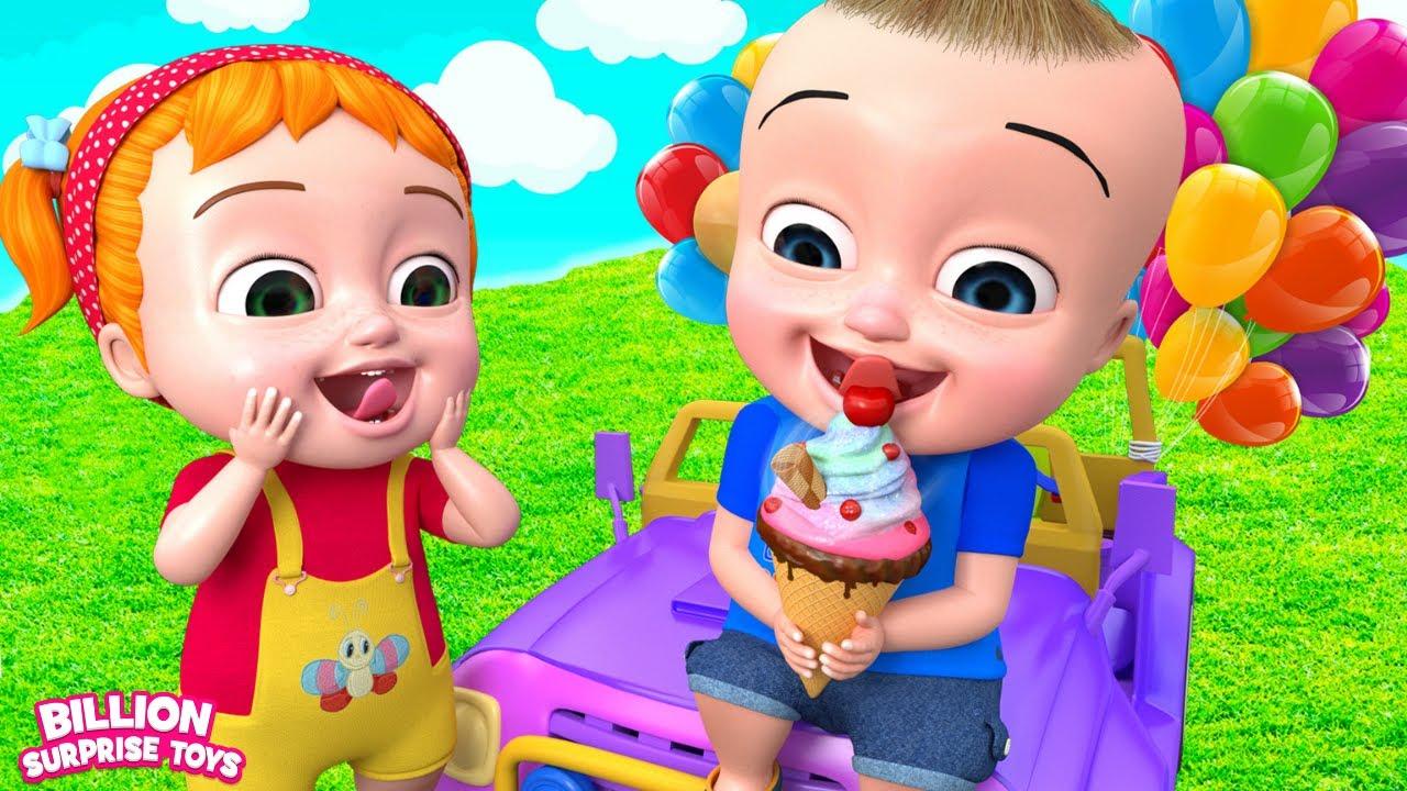 खेल के मैदान में टॉय कार से खेलते बच्चे!   बिलियन सरप्राइज टॉयज हिंदी गाने
