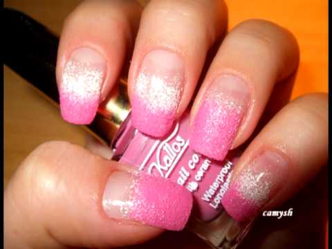 Pink white sponge manicure nail art tutorial youtube prinsesfo Image collections