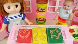 Baby Doll and Play Doh cookie cooking toys baby Doli play