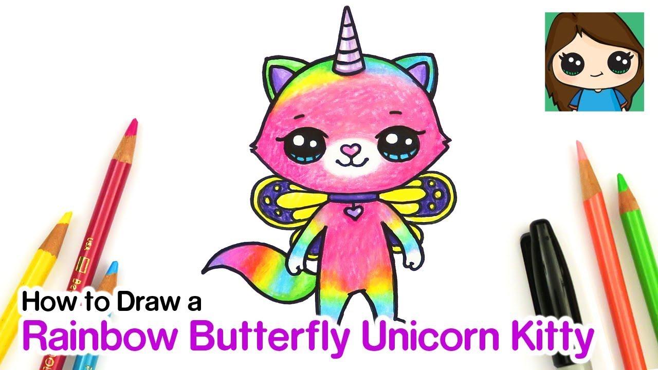How to Draw Rainbow Butterfly Unicorn Kitty - YouTube