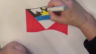 Learn geography for kids How to draw a flag Antigua and Barbuda