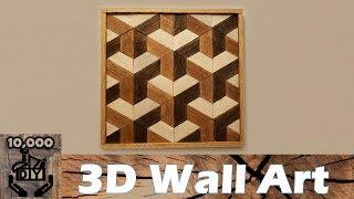 DIY : 3D Illusion Geometric Wooden Wall Art / Reclaimed wood wall art / Wall Accent / Wood Art