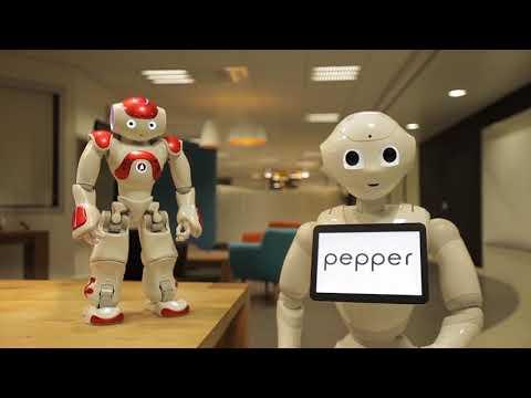 "Pepper robot"" and ""NAO robot"", from ""SoftBank Robotics"""