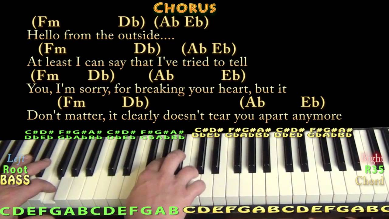 Hello (Adele) Piano Cover Lesson in Fm with Chords/Lyrics - YouTube
