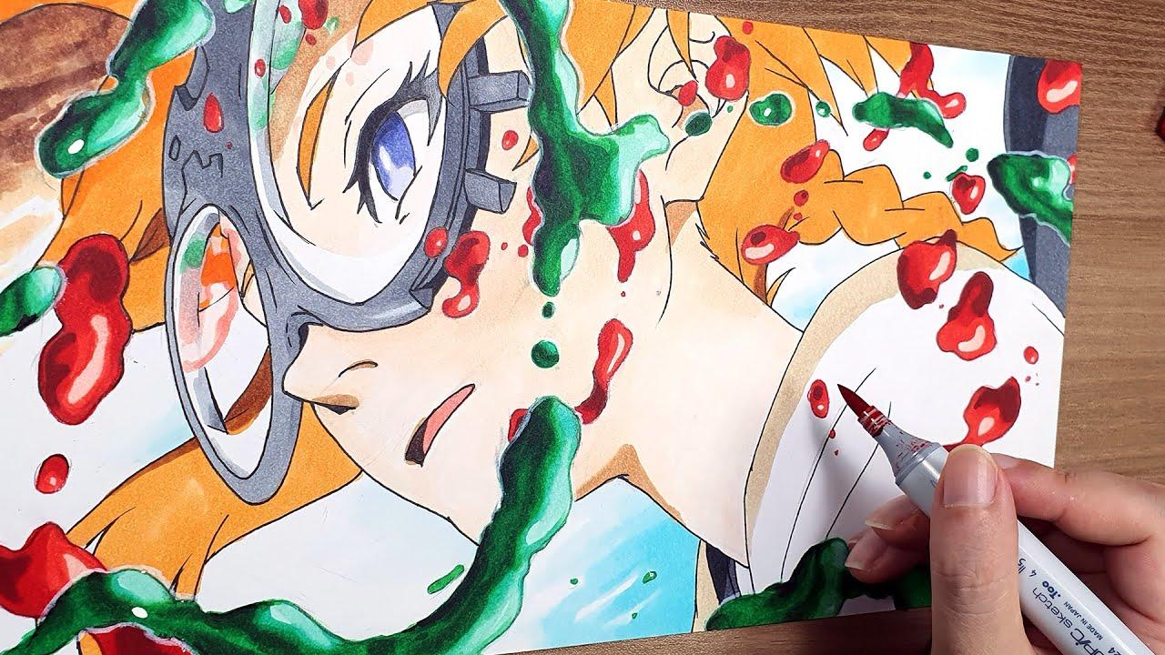 Drawing Natsume - DECA DENCE with copicmarkerデカダンス ナツメ데카당스 나츠메 마카로 그리기