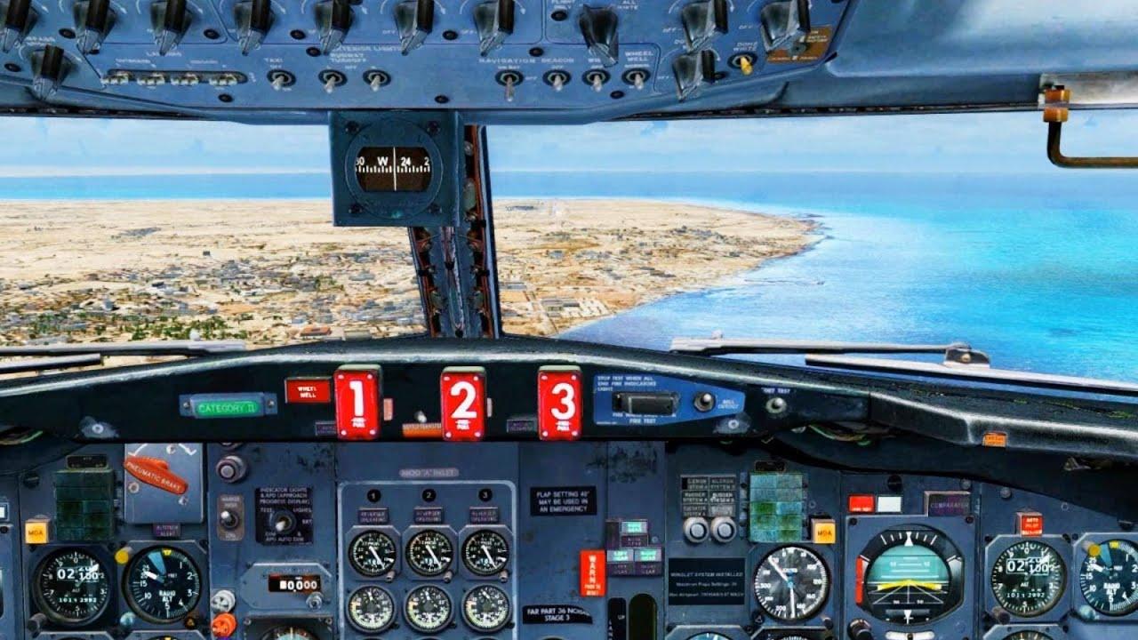 alitalia boeing 727 landing   djerba   cockpit     hd