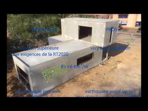 modular concrete house with metallic fibers anti-seismic, tornado-proof, cyclone-proof