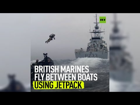 British Marines test out a jetpack in the open sea
