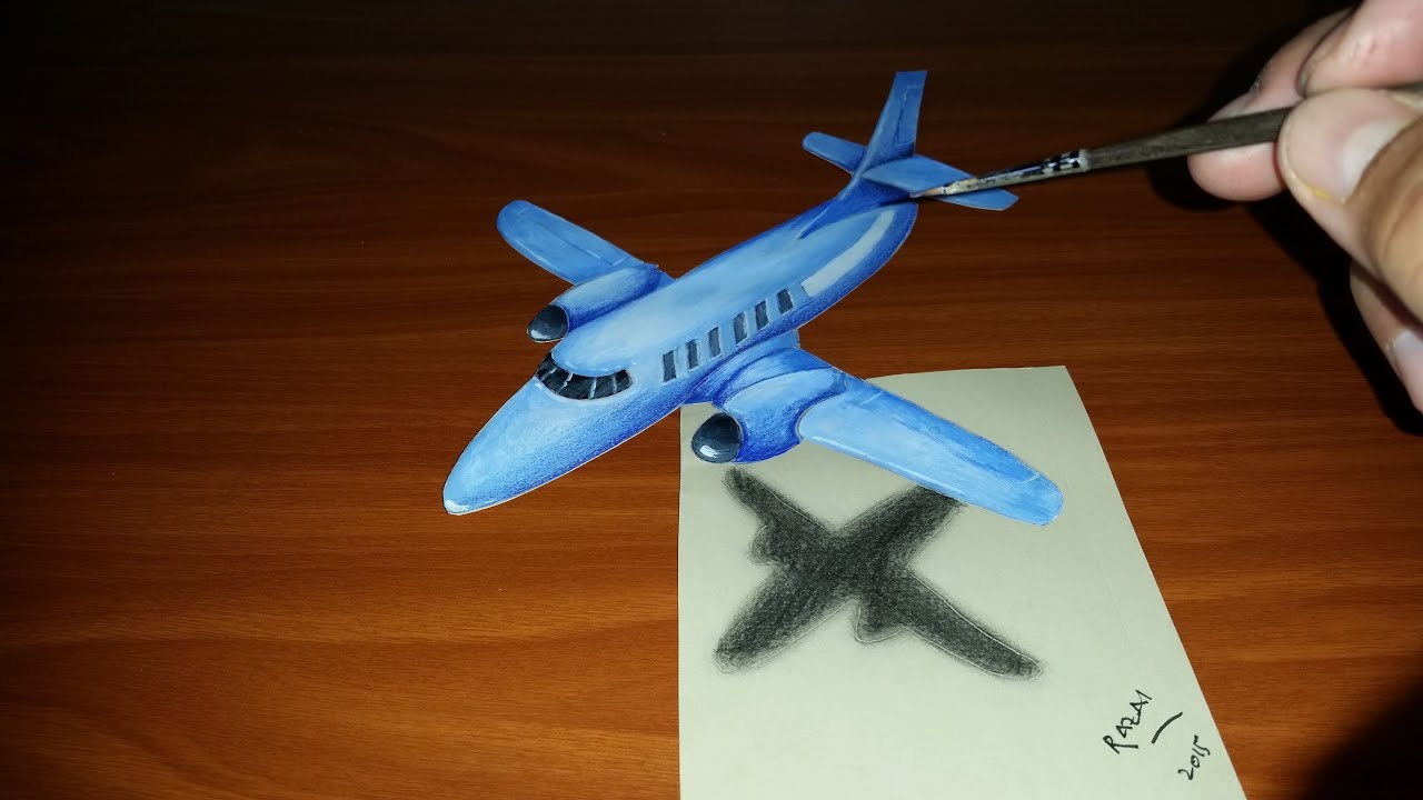 Speed drawing 3d illusion airplane on paper | dessin 3d rapide d ...