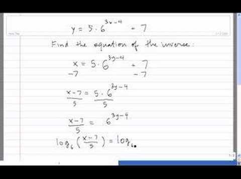 Inverse Of An Exponential Function Youtube
