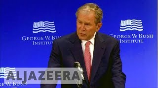 Obama and Bush deliver implicit rebukes to Trump