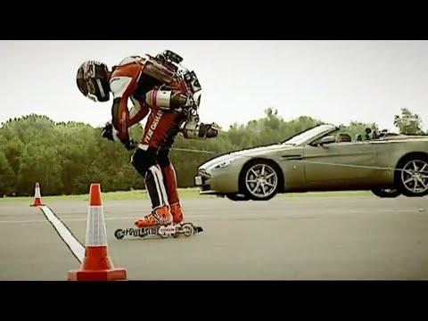 aston martin v8 vantage vs jet powered rollerskates | top gear