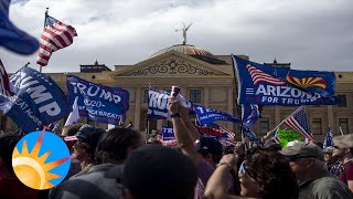 Trump supporters protest at the Arizona State Capitol rejecting Biden-Harris as the declared winners