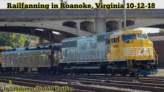 Railfanning in Roanoke Virginia 10-12-18 part 2 South Yard 1800 and 1801 test train.