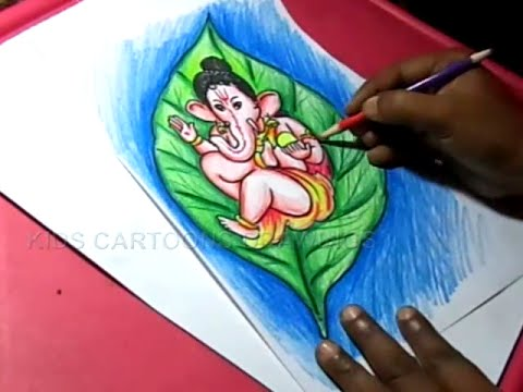 How To Draw Leaf Ganesha Drawing For Kids Step By Step Youtube