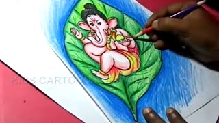 How to Draw Leaf Ganesha Drawing for Kids Step by step