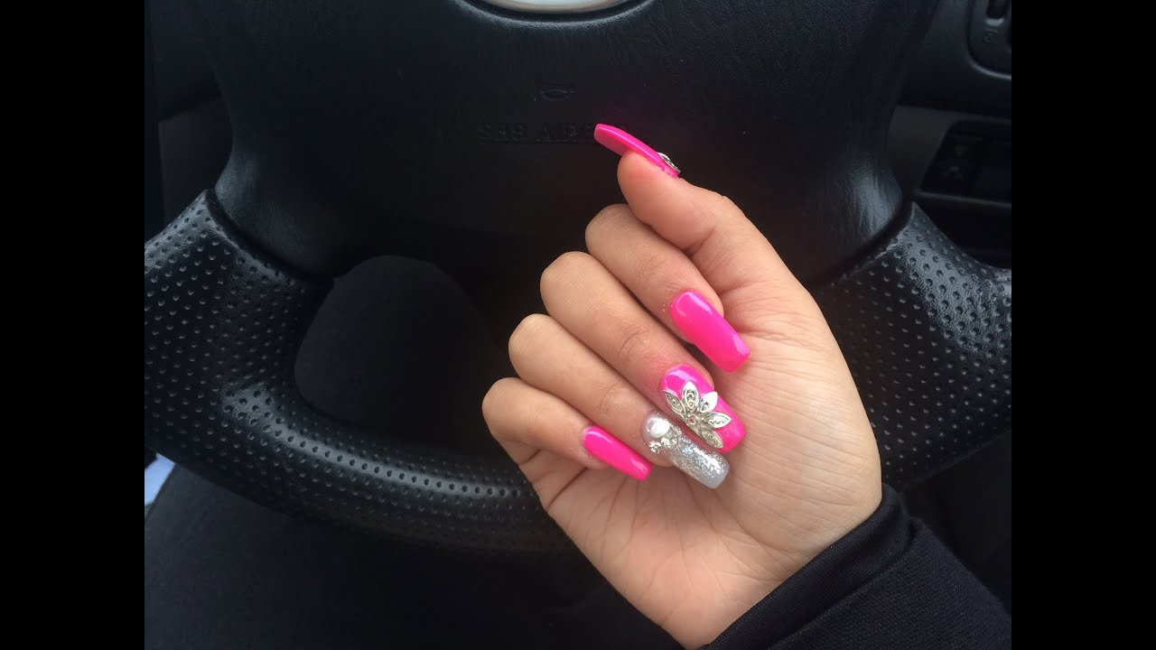 Pink Acrylic Nails TUTORIAL - YouTube