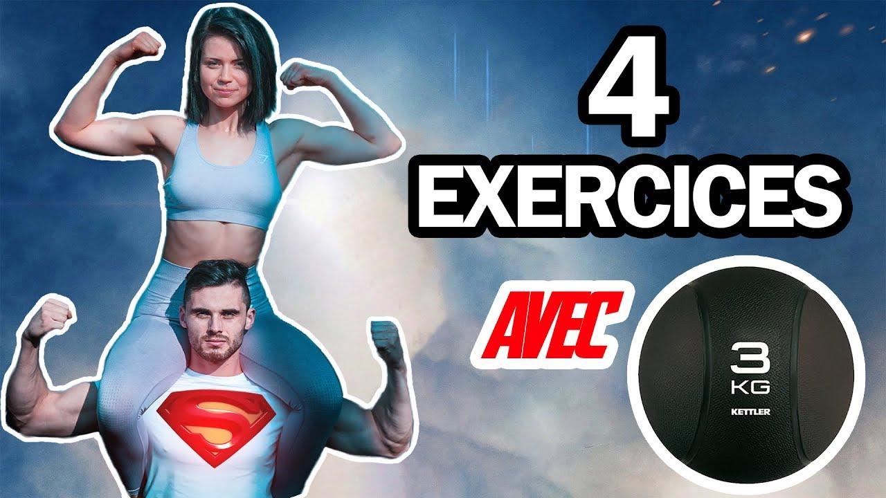 4 exercices fitness FESSIERS ET ABDOS avec MEDECINE BALL ...