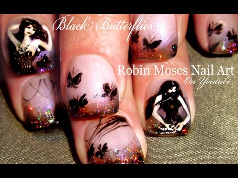 Black Butterfly Nail Art design | Gothic Holo Glitter Nails Tutorial