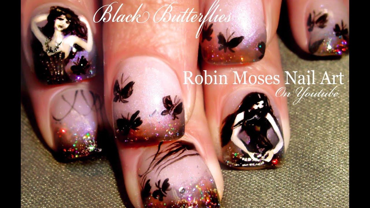 Black Butterfly Nail Art design | Gothic Holo Glitter Nails Tutorial ...