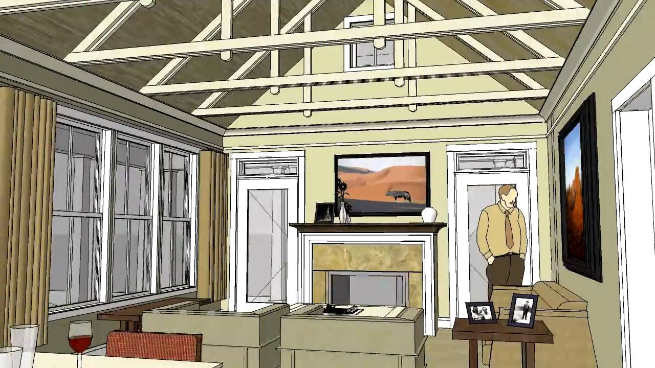 Cottage home design with open floor plan and vaulted ...