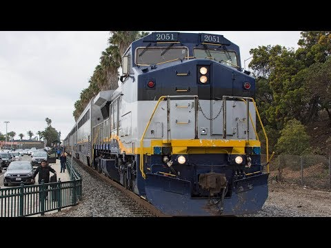 (4K) Los Angeles Railfanning including Amtrak California Dash 8s