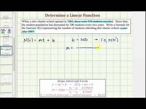 Ex: Determine a Linear Function From An Application (School Enrollment) (09x-36)