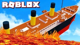 LE TITANIC SURVIVRA AU TSUNAMI DE LAVE ?! | Roblox the Floor is lava