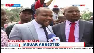 Police teargas Moses Kuria, Nizon Korir while protesting Njagua\'s arrest over xenophobic sentiments