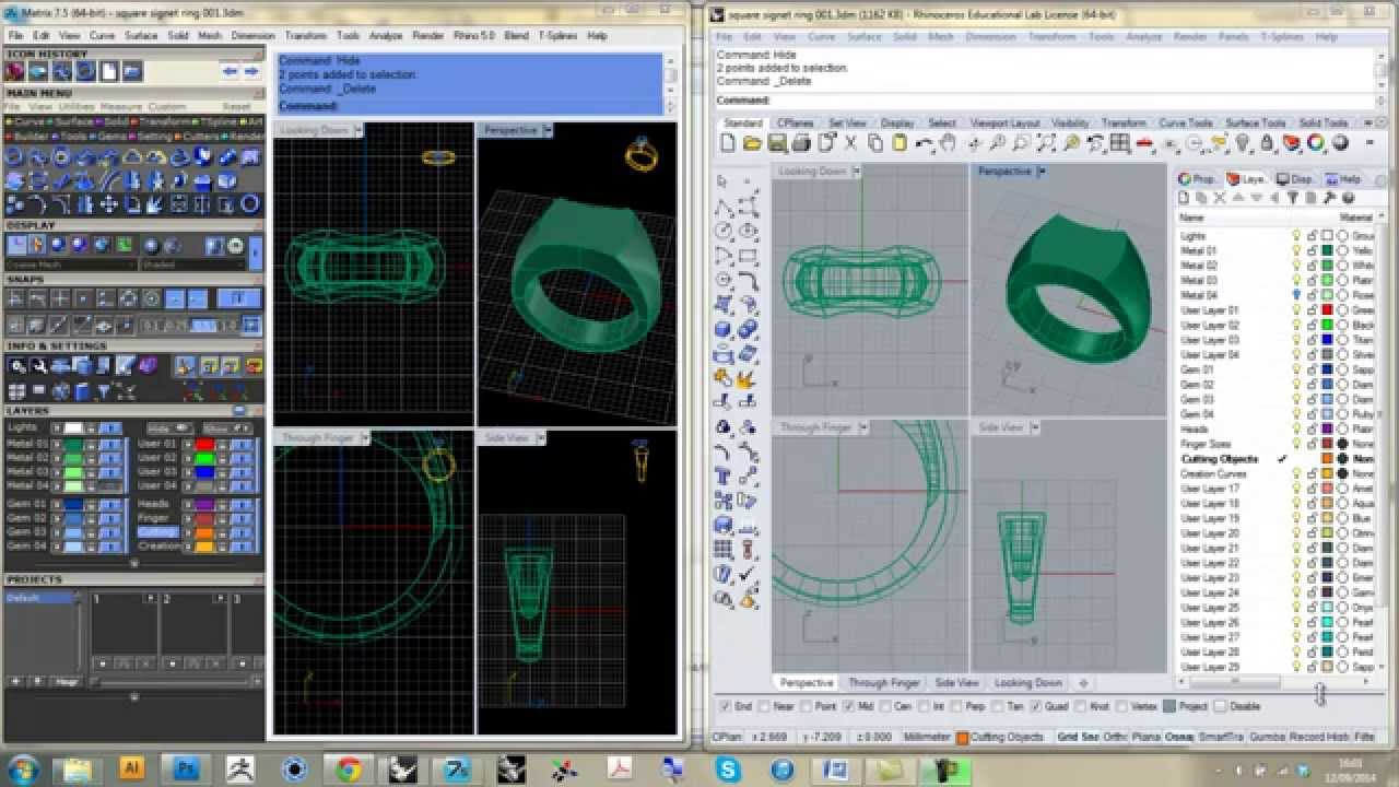 Matrix To Rhino Cad Tutorial Part 1 Ring Rails Profiles Gemstones And Bezels Youtube