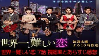 ドラマ世界一難しい恋第7話視聴率速報とあらすじ~視聴率とキス・観覧車...