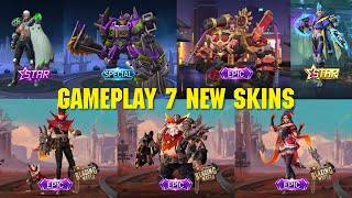 GAMEPLAY 7 NEW SKIN MOBILE LEGENDS - BLAZING WEST SQUAD - DECEMBER STARLIGHT SKIN 2020