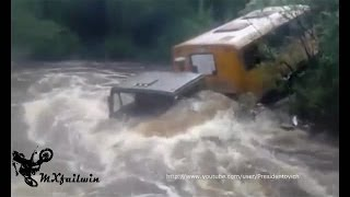 Kamaz truck in deep water, Kamaz fail