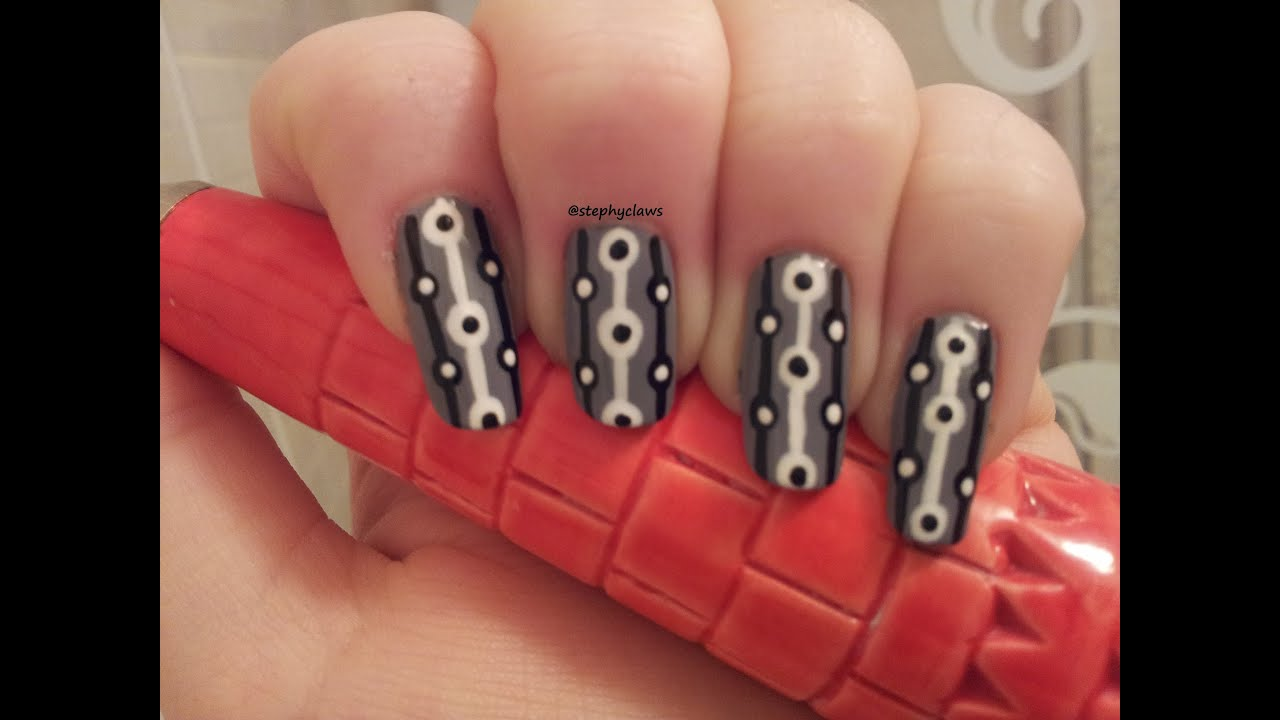 Super Simple Grey Abstract Nail Art Design For Beginners - YouTube