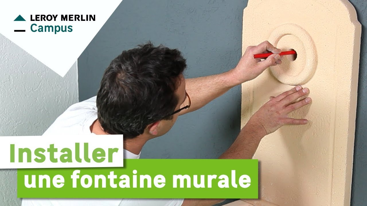 Comment installer une fontaine murale leroy merlin youtube for Plaque murale robinet exterieur