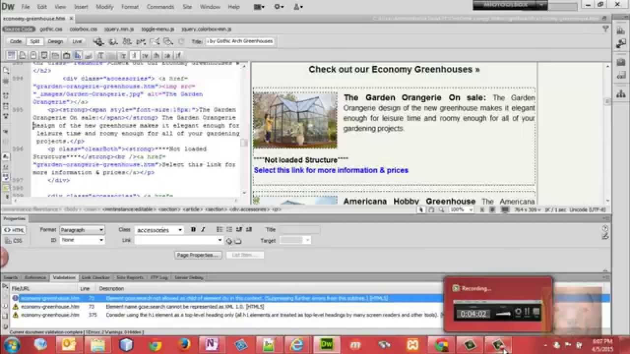 Use Dreamweaver to Validate HTML Code - YouTube
