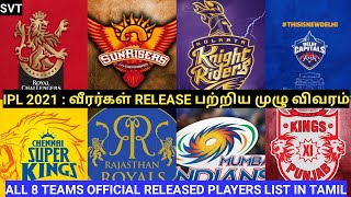 IPL 2021 | ALL 8 TEAMS OFFICIAL RELEASED/RETAINED PLAYERS LIST IN TAMIL