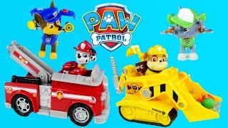 Play Doh Paw Patrol Action Pack Pups Fire Fightin' Truck Rubble's Diggin Bulldozer Construction Toys