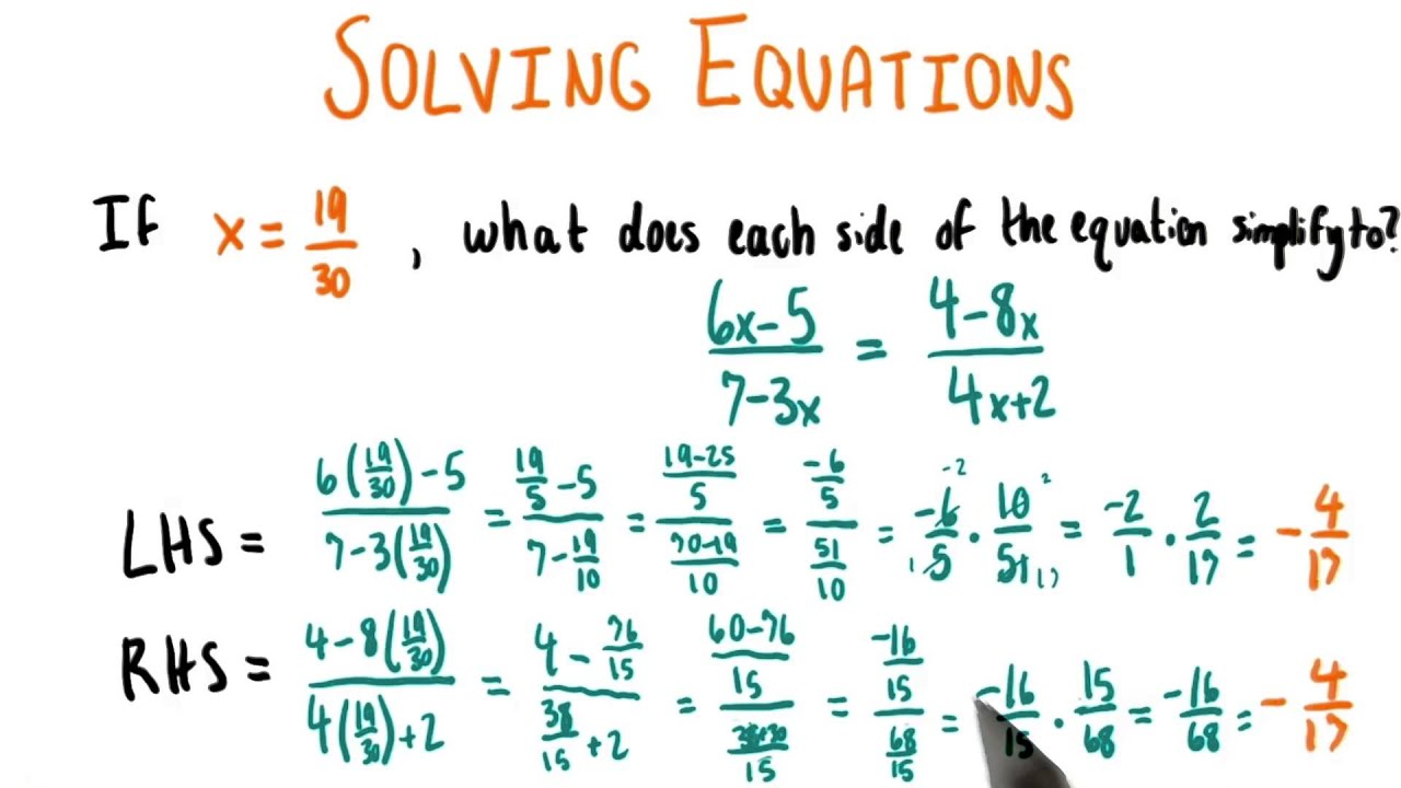 Checking LHS and RHS - College Algebra - YouTube