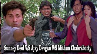 Sunny Deol V/S Ajay Devgan V/S Mithun Chakraborty    Top Action Scenes Of Bollywood Movies
