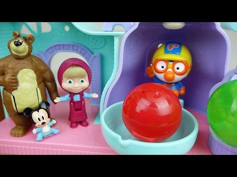 Thumbnail: Marsha and the Bear house and Baby doll play with Surprise eggs play