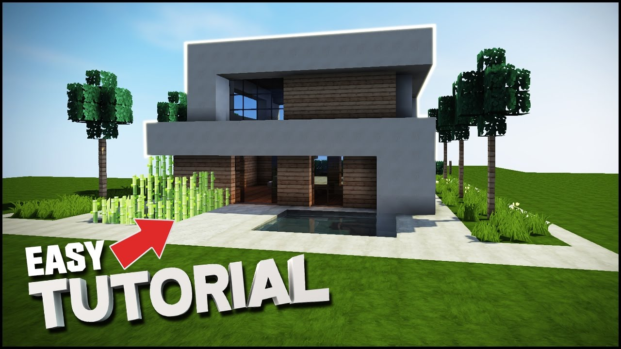 Minecraft house tutorial realistic modern house best for Modern house mc