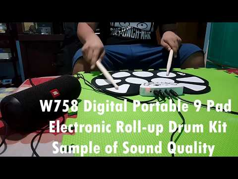 LAZADA UNBOX! W758 Digital  Electronic Roll-up Drum Kit- Sound Test (24K Magic)