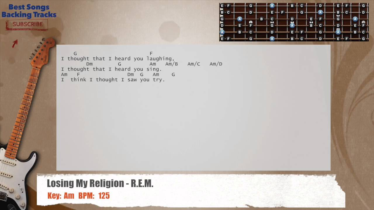 Losing My Religion Rem Guitar Backing Track With Chords And