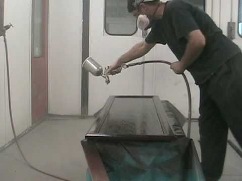 How to spray paint kitchen cabinets youtube for How to spray paint doors