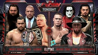 WWE RAW 2K15 : Undertaker, Sting, John Cena & Reigns vs Brock Lesnar, HHH, Wyatt & Rusev - 23/03/15