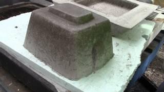 Concrete Plastic Birdbath First Casting - Dumping Casting From Mold