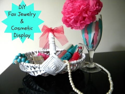 DIY Fav Jewelry & Cosmetics Display/ Wine glass decor