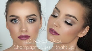 One of Madeleine Edwards's most viewed videos: Champagne Bronze Eyes + Bright Lips - UD Naked Palette | Maddie Edwards