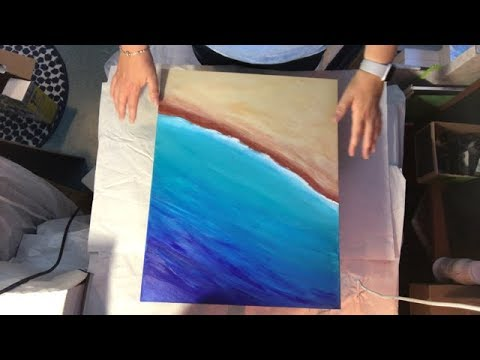 Tutorial - Ocean & Beach Underpainting.  Resin Art for Beginners